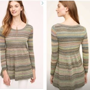 ANTHROPOLOGIE MOTH SMALL STRIPE BABYDOLL SWEATER